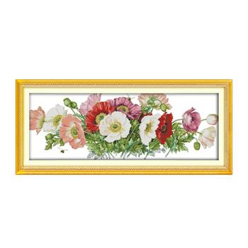 11CT 14CT Variety specifications needlework embroidery cross stitch, beautiful poppy flower wall decoration hanging paintings cross poppy flower brooch