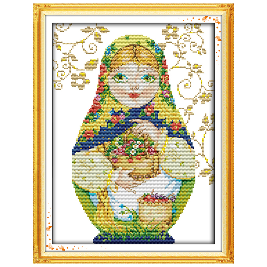 Gelb Russische Puppe (8) muster Gezählt Kreuz Stich 11 14CT Kreuz Stich Sets Chinesische Kreuz-stich Kits Stickerei Hand