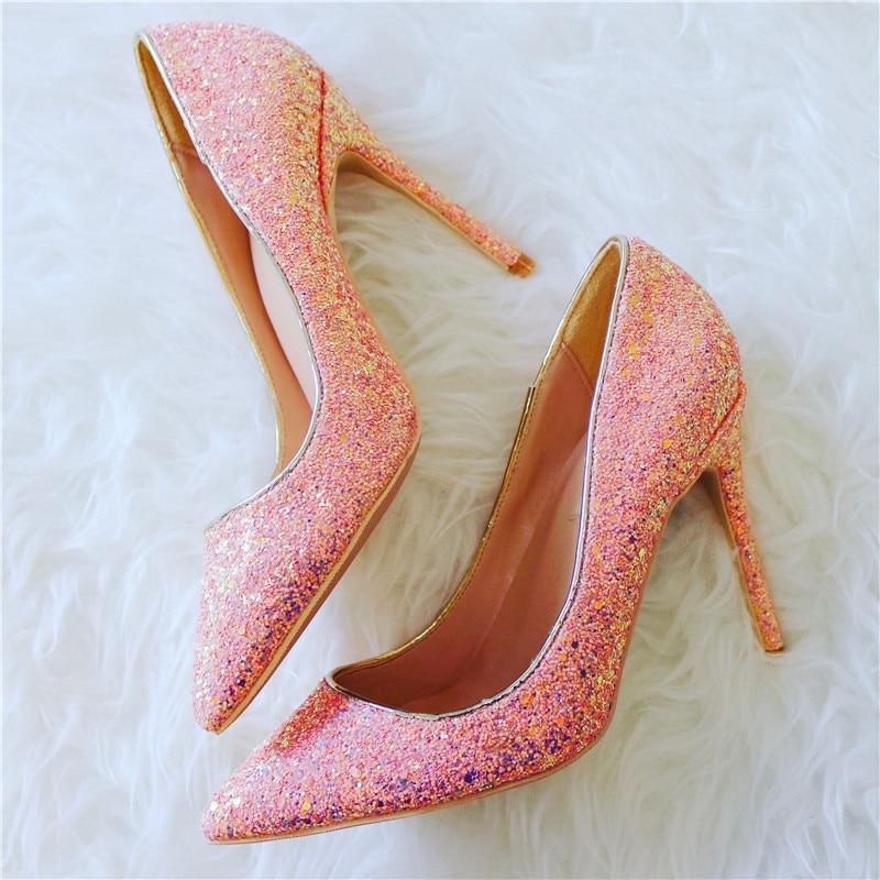 a8270ee6 Zapatos Partido Rosa Para Del La Vestir Novia Bling Mujer Tacones De  Puntiagudos Altos Bombas Sexy ...