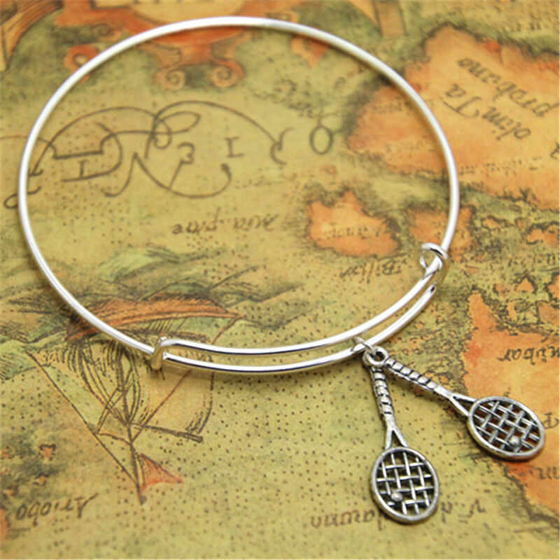 Ancient Silver Tennis Racket bracelets bangles adjustable Tennis Racket Charm Couple jewelry new style Hot sale Holiday gift