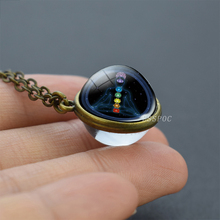 7 Chakra Symbols Necklace Meditation Healing Double Side Glass Crystal Ball Pendant Necklaces Jewelry