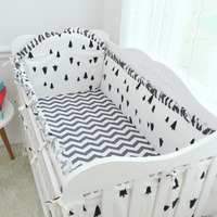 Promotion! 6PCS pine wave Baby Bed Linen Bed around Baby Cot Bedding Kit Baby Bedding Set,4bumpers+sheet+pillow cover)