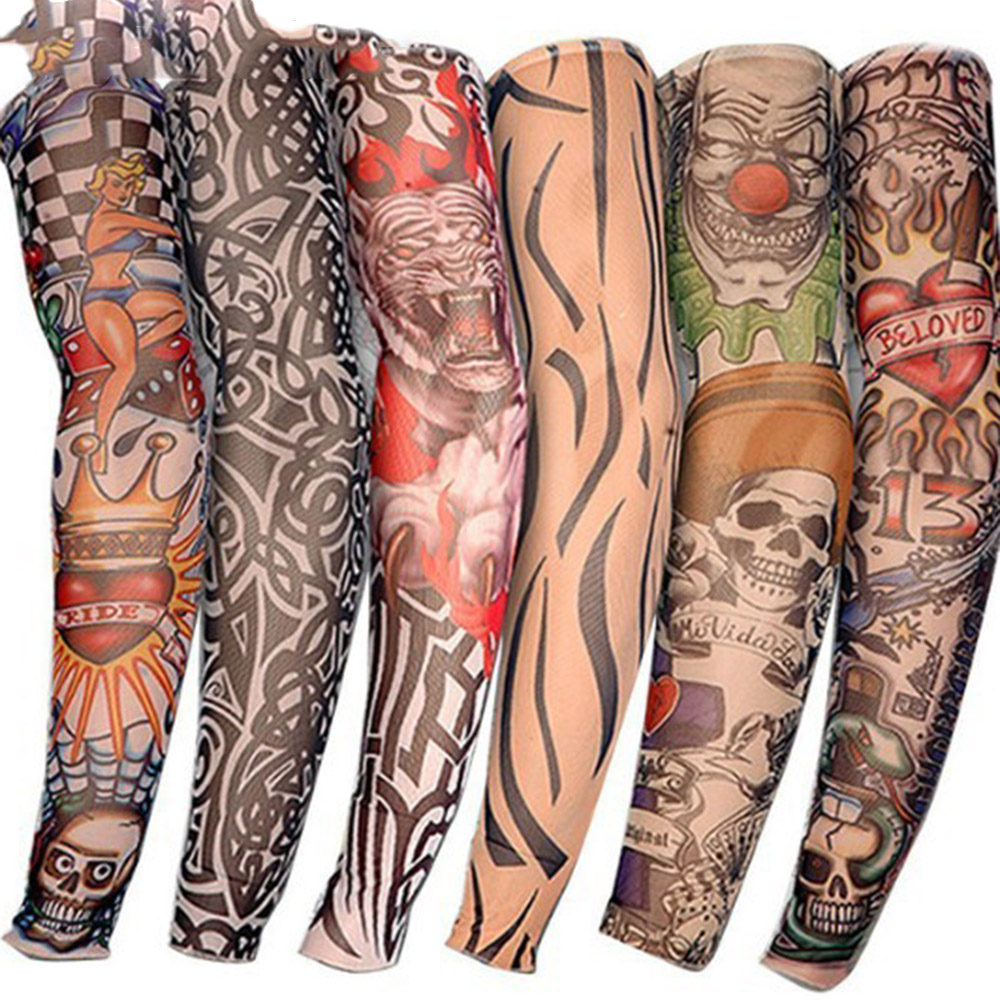 1PC Tattoo Sleeve Men Women Arm Warmer Fashion UV Sun Protection Arm Sleeves Cycling Elastic Oversleeve Arm Warmers