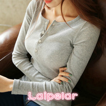Laipelar Plus Size T Shirt Casual Womens Long Sleeve Sexy Women Clothing Solid Color Fashion V-neck