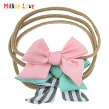 Cute Baby newborn girl Retro style Bow headband elastic Nylon pink stripe headwrap hair accessories Baptism bebes bandeau photo(China)
