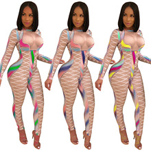 2019 New Arrival Jumpsuits Full Length Lolita Style European and American fashion multicolor printing slim bodysuit casual pants