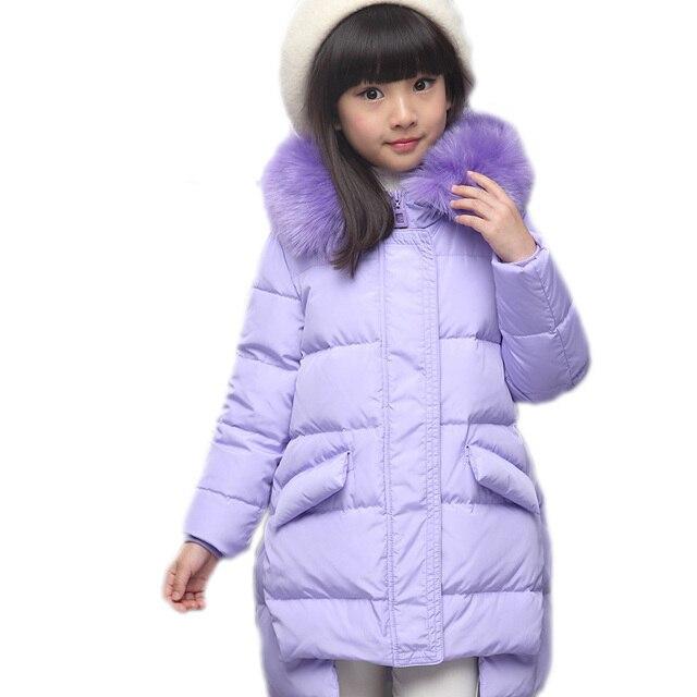 2017 new children duck down jacket long fur collar hooded winter ...