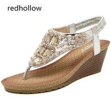 Fashion Women Shoes Sandal Summer Wedges Shoes Bohemia Crystal Women Sandals High Heels Woman Flip Flops Shoes Comfort Sandalias цены онлайн