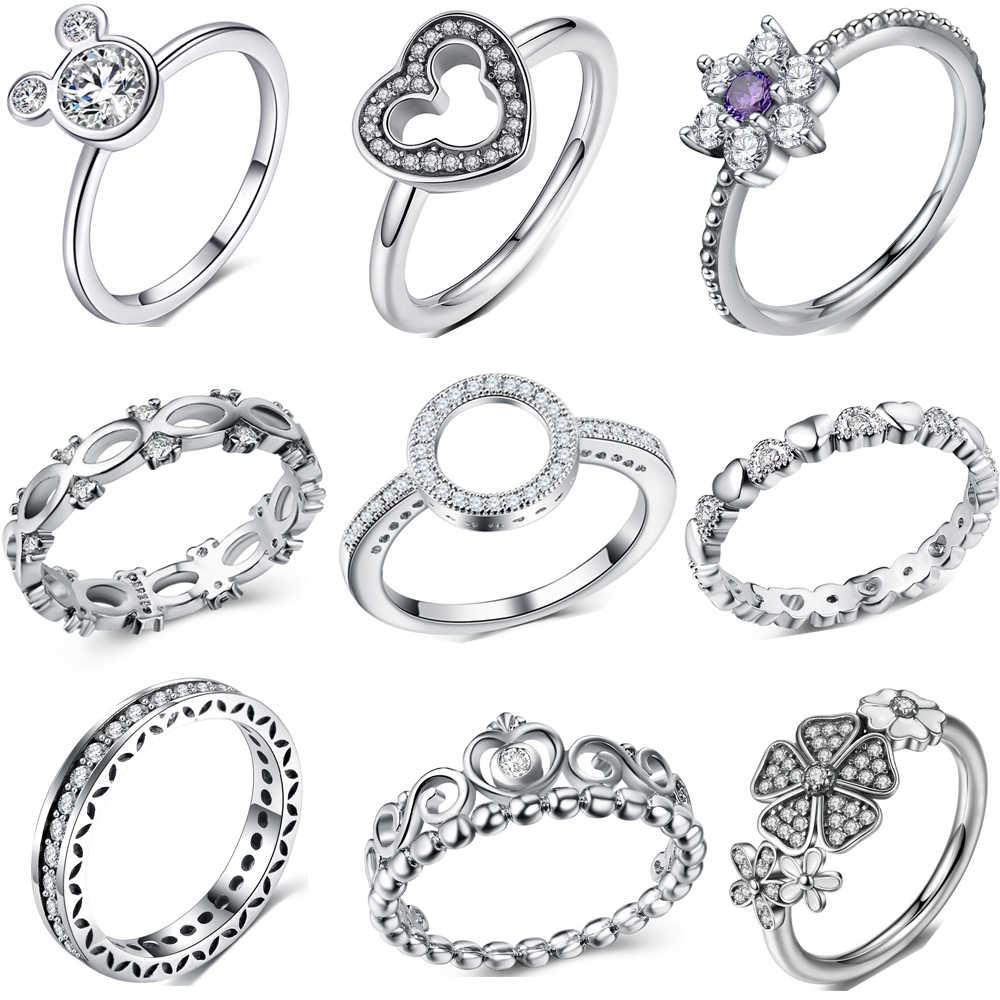 Модные Блестящие Стразы Серебряное кольцо для женщин Цветок Любовь Сердце  Корона палец кольца Коктейльная часть кольцо 0112ce98f8b