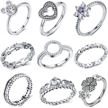 CUTEECO Fashion Sparkling Rhinestone Silver Color Ring For Women Love Heart Crown Finger Rings Part Brand Jewelry Gift