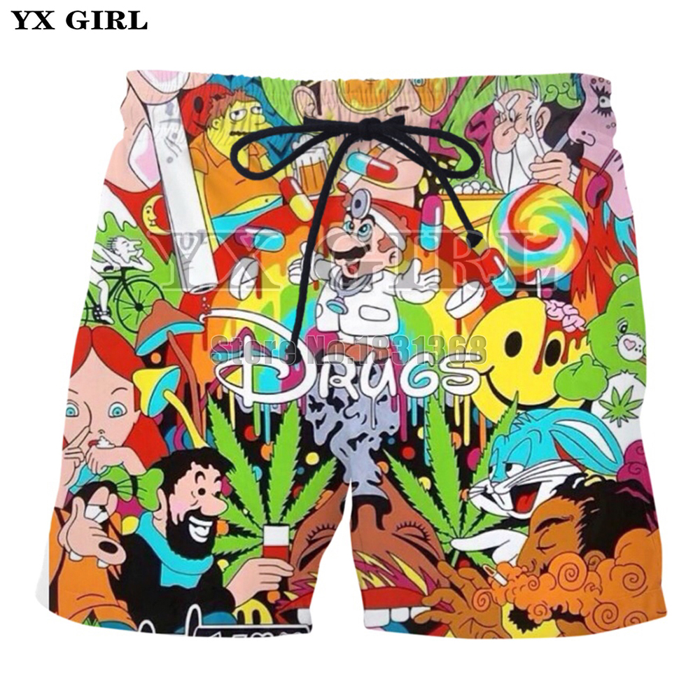 100% Quality Yx Girl 2018 New Men/women Funny Shorts Drugs Print 3d Beach Shorts Summer Casual Psychedelic Shorts Quality Drop Shipping