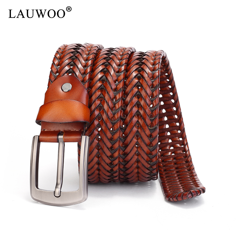 LAUWOO New Braided Leather Mens Belt Hand Knitted Genuine Leather Pin Buckle Casual Style Woven Tanned Cowhide