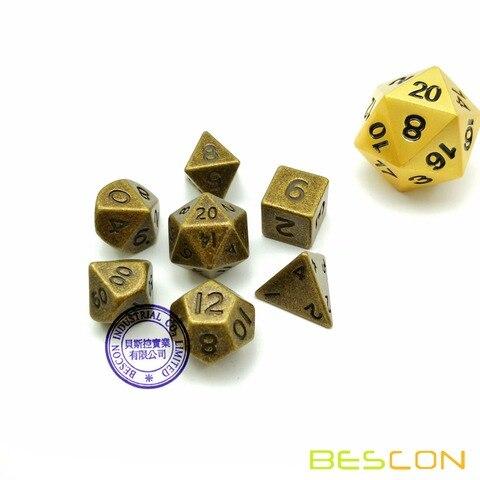 bescon 10mm mini conjunto de dados de metal solido bronze antigo mini metal poliedrico d