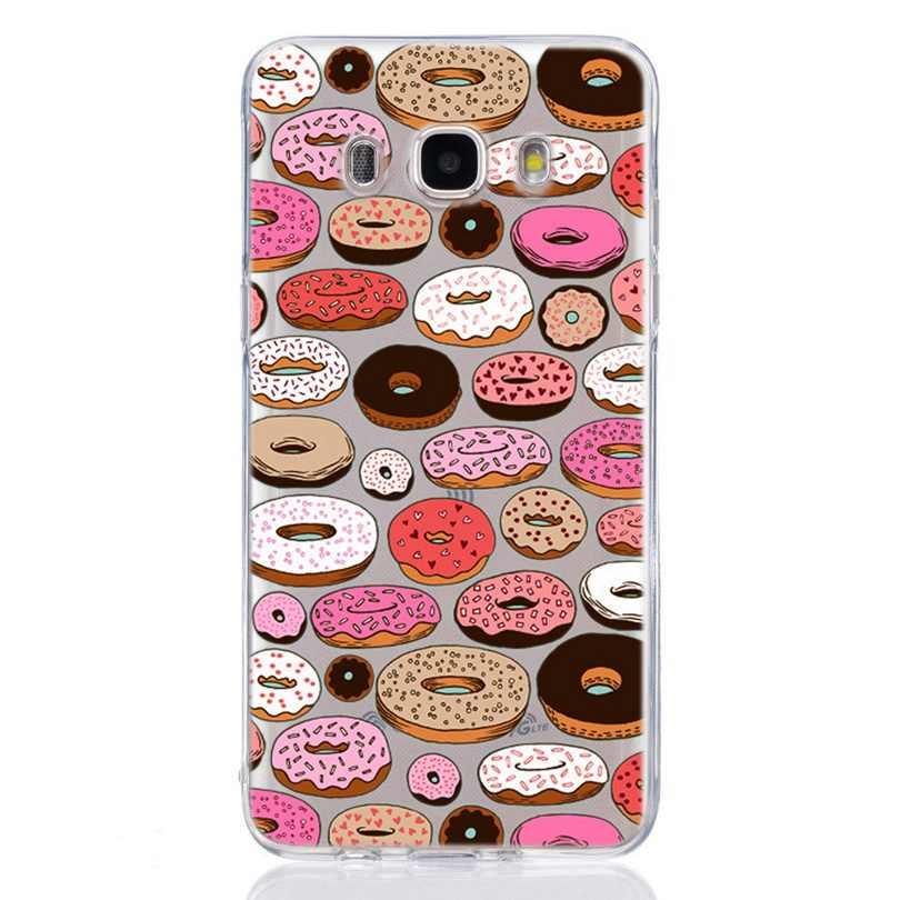 Для Samsung Galaxy A3 A5 2016 2017 Премьер J1 J2 J3 J5 J7 ТПУ Красочный мягкий пирог Еда роспись дизайн чехол Fundas C317