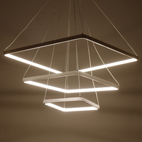 Square White Finished Pendant Light LED Circle Modern Hanging Lights For Living Room Lampara De Techo