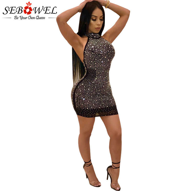 48ed23f3 Detail Feedback Questions about SEBOWEL Sexy Mesh Diamonds Glitter Club  Dress Women Black Halter Sequin Glitter Party Dress Bodycon Sparkly Night Club  Dress ...