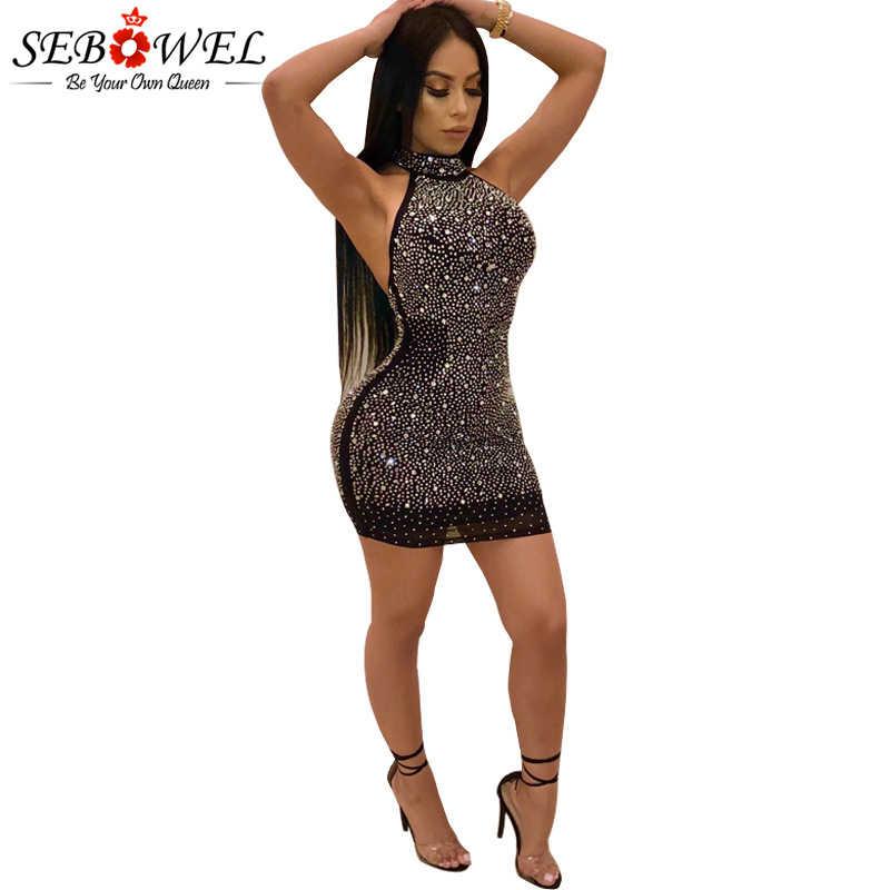 ca5aba75683 Detail Feedback Questions about SEBOWEL Sexy Mesh Diamonds Glitter Club Dress  Women Black Halter Sequin Glitter Party Dress Bodycon Sparkly Night Club  Dress ...