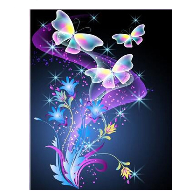 5d diamond Embroidery Shiny Butterfly flora needleworks diy diamond painting cross stitch for children puzzle mosaic crafts Z670 in Diamond Painting Cross Stitch from Home Garden
