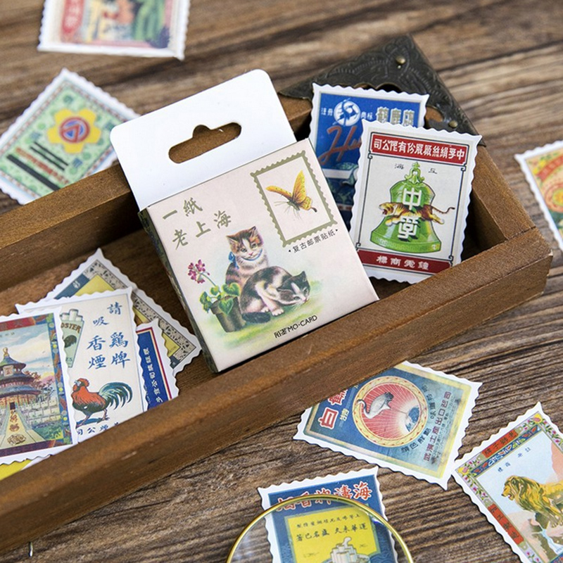 45 pcs/box Vintage Stamps stickers paper sticker decora diy diary scrapbooking sealing sticker children favorite stationery
