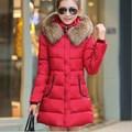 Medium Long Cotton Padded Winter Jacket Coat Women Slim Fit Thick Warm Womens Winter Jackets Fur Hooded Parka Black Red Blue