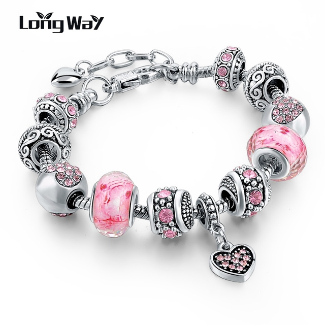 LongWay Silver Color DIY Jewelry Flower Beads Charm Bracelet Femme With Murano Pink Glass&Crystal Beads Gifts SBR160073