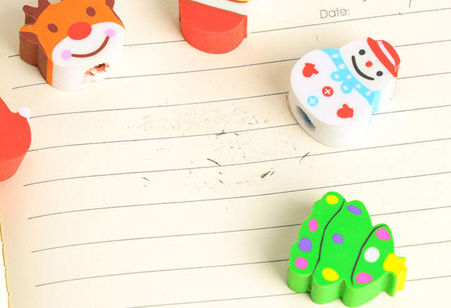 3pcs Cute Cartoon Christmas Wooden Pencil With Eraser For