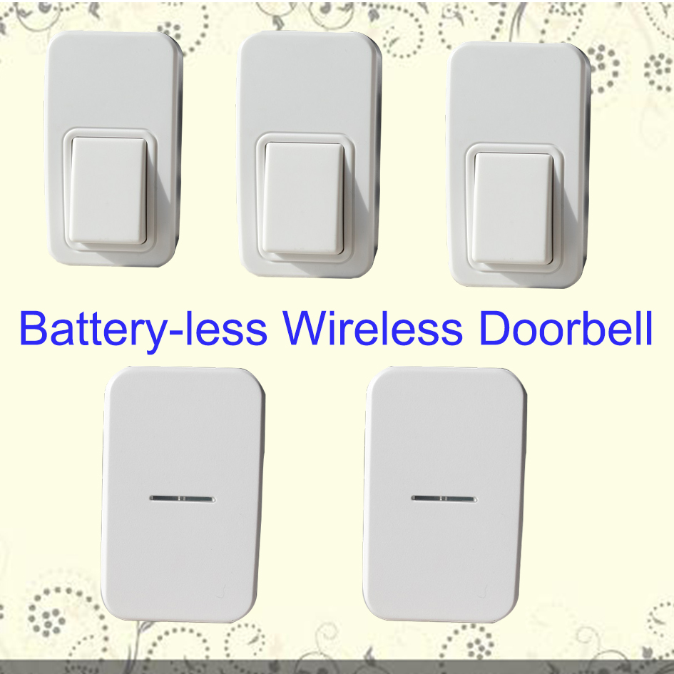 3 Push Buttons 2 Indoors Chime Battery Less Wireless Doorbell Door Bell Cordless 110m Long Range