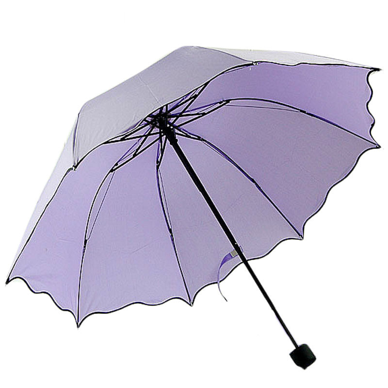 solid color women compact three folding rain umbrellas ravel strong frame umbrellas for girl rainy sunny