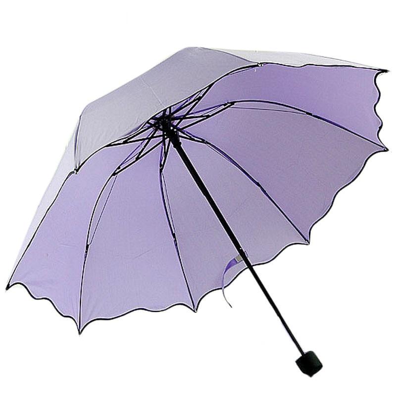 solid color women compact three folding rain umbrellas ravel strong frame umbrellas for girl rainy sunny