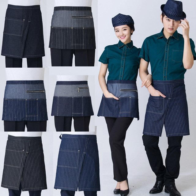 Универсальные джинсовые половина бюст нагрудник фартук Ресторан Кухня кофейня, чайная униформы для официантов талией фартук с карманами