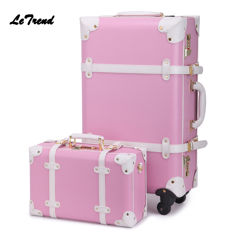 LeTrend Retro Student Rolling Luggage Set Spinner Leather Suitcase Wheel Trolley Vintage Women Travel Bag Trunk Carry On Luggage