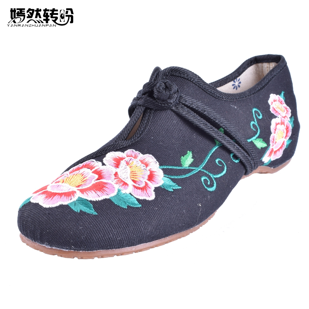 Chaussure Femme Vintage Floral Embroidery Shoes Woman Chinese Style Loafers Zapatos Mujer Sapato Feminino Soft Sole Women Flats chinese women flats shoes flowers casual embroidery soft sole cloth dance ballet flat shoes woman breathable zapatos mujer