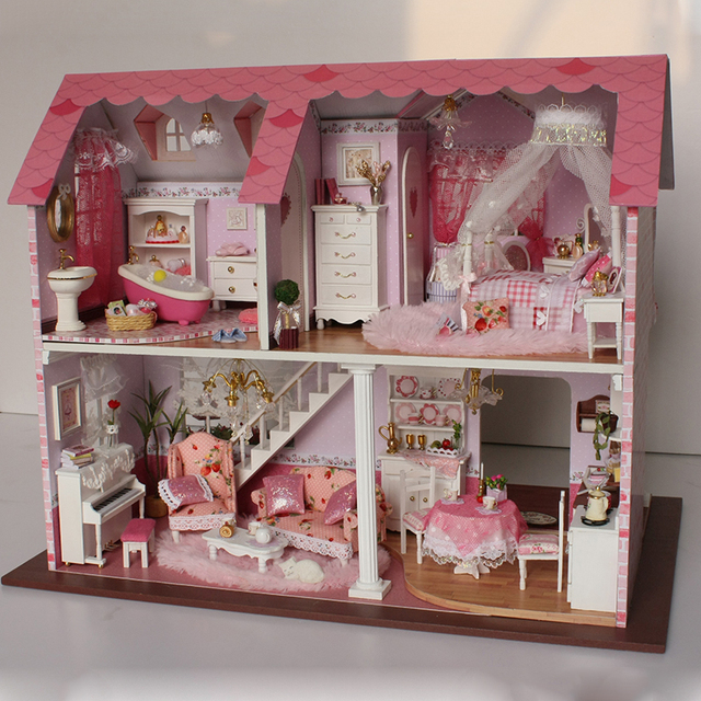American Style House DIY Wooden Doll House with Furniture Kit