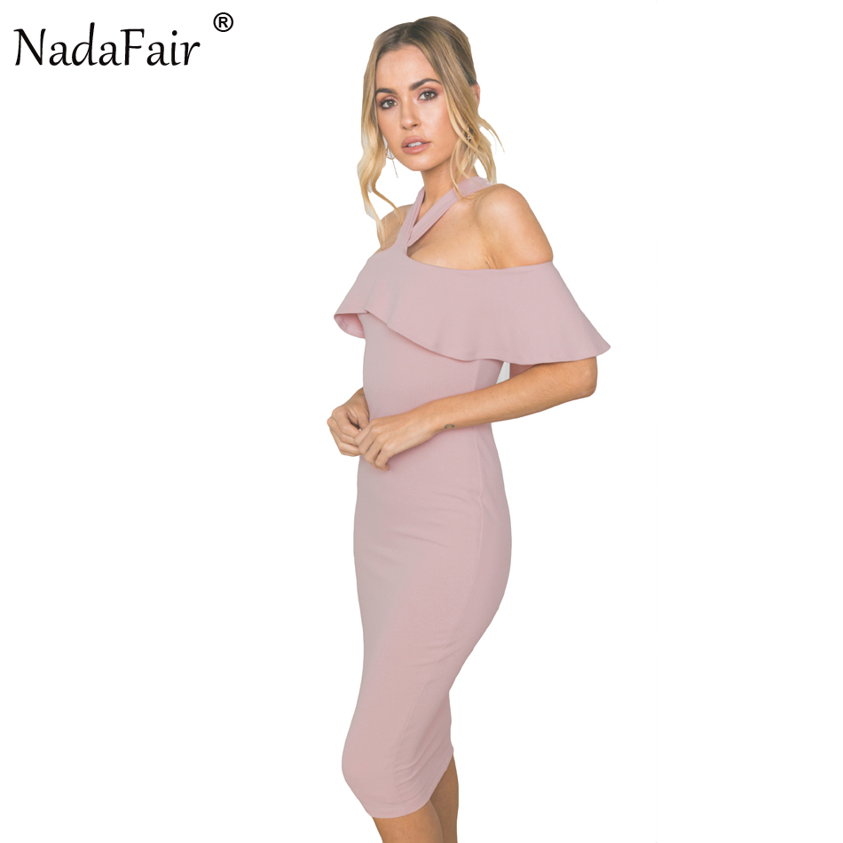 d4a6b4afdb2 Nadafair Ruffles Cloak Sleeves Halter Skinny Sexy Club Women Party Dress  Summer Bodycon Midi Dress Plus Size Elegant Vestido-in Dresses from Women s  ...