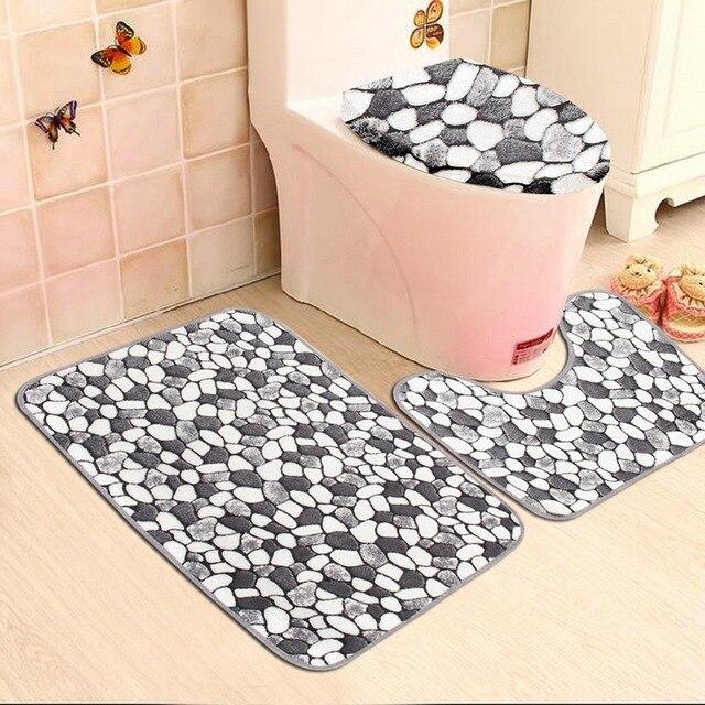 3pcs Non Slip Washable Floor Carpet Bath Mat Pedestal Toilet Rug Kits C Velvet Pebble