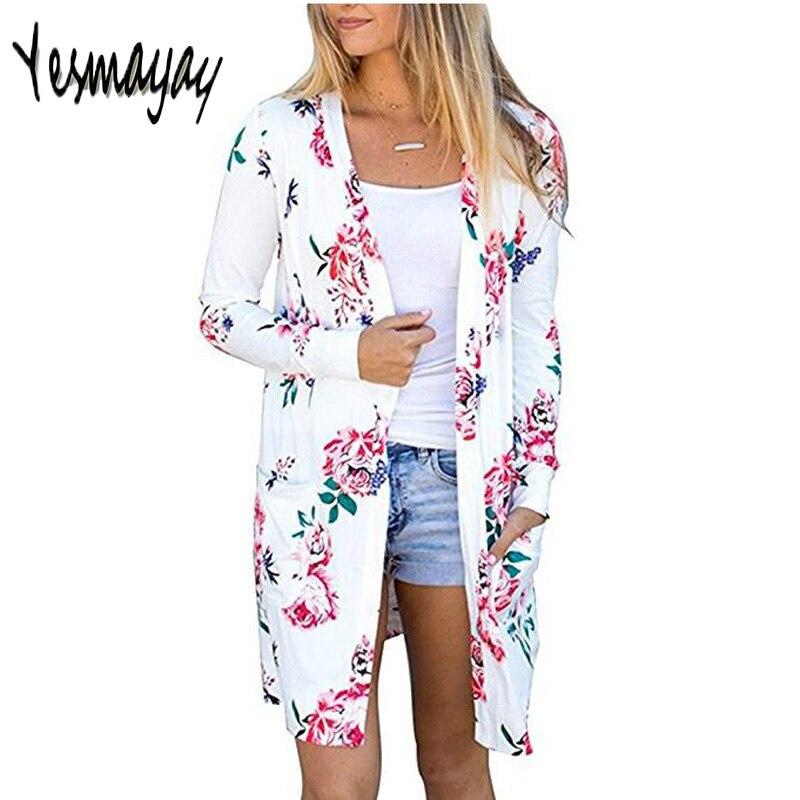 Long Sleeve Kimono Cardigan Floral Print Vintage Casual