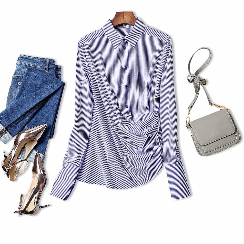 Shirt design blue cotton - Newest Women Fashion Spring Autumn Blue White Striped Long Sleeve Pure Cotton Shirt Luxury Brand Design