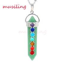 Men jewelry Natural Gem Set 7 Beads Hexagon Prism Point Reiki Pendulum Pendant Charms Healing Chakra Amulet Jewelry 10pcs