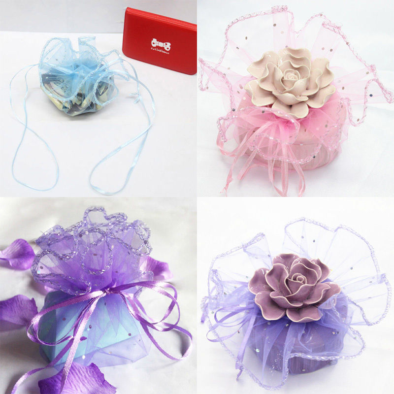 Pouch-Bag Jewelry-Beads Sheer Sequins-Dot Wedding-Gift Candy Organza Packaging.q 50pcs