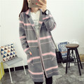 2016 New Fashion Women Casual Korea Loose  Long Sleeves Lady Knit Sweater Coat Woolen Women Plaid Cardigans Jacket C793