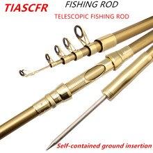 Tiascfr vara de pesca dura super telescópica 1.8m 3.6m portátil fiação elenco vara de pesca mar carpa pesca engrenagem