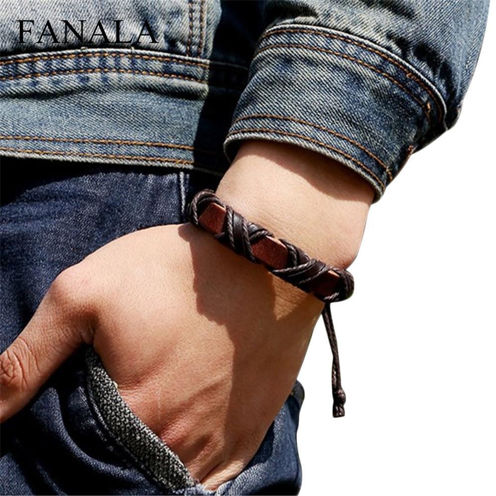 Leather Men Vintage Wrap Women Bracelets & Bangles Brown Handwoven Leather Cross Fashion Unisex Wristband Pulsera Gift Wholesale