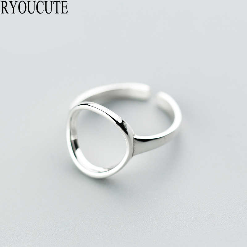 Bohemian 925 Sterling Silver Circle Rings for Women Gifts Adjustable Size Large Open Rings Fashion Wedding Jewelry