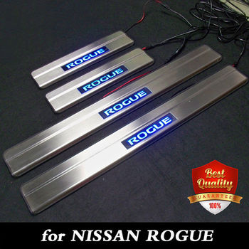 ステンレス鋼 LED ドアシルスカッフプレート日産ローグ 2014-2019 青色光