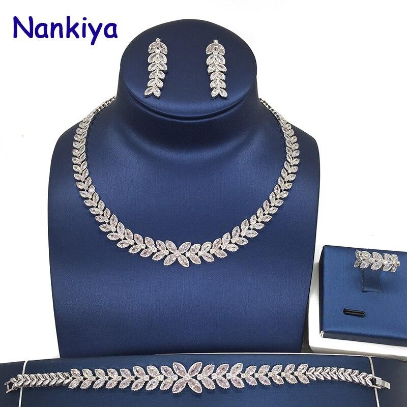 Nankiya élégant cheval oeil feuille de mariage tour de cou bijoux ensemble Top qualité cubique Zircons cuivre nuptiale bijoux luxuriants 4 pc ensemble NC526-C