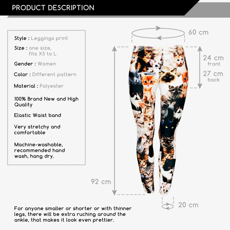 2015 women new arrival 3D digital printing leggings print 3d cats fashion sexy leggings plus high elastic