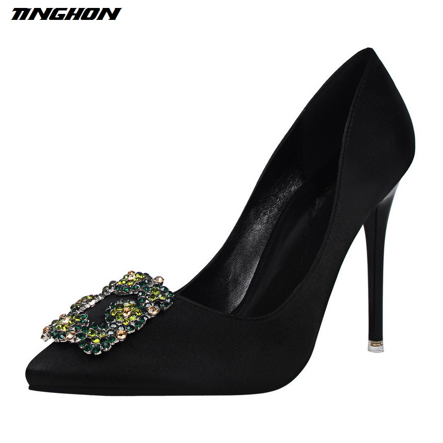 TINGHON Pumps Brand Women's Crystal Pumps Pearl Applique Pointed Toe Stiletto Thin Heel High Heels Wedding Shoes Woman Heels fashin new stunning rhinestone pearl wedding shoes crystal pride pedding high heel pumps dress pearl pregnant pumps shoes