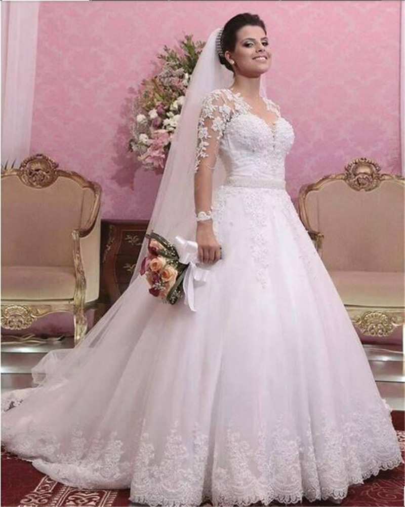 dc11f4637 Modest Beaded Pearls V Neck Long Sleeve A-line White Lace Wedding ...
