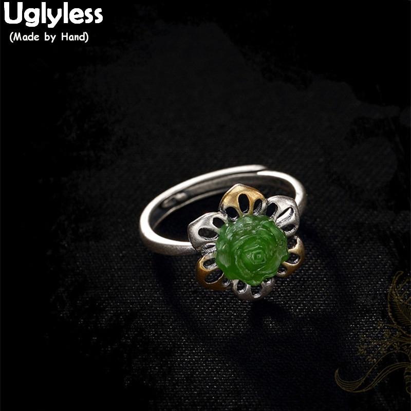 Uglyless Real 925 Sterling Silver Bijoux Natural Jade Green Rose Open Ring Luxury Jasper Hollow Flower Rings Women Dress Jewelry