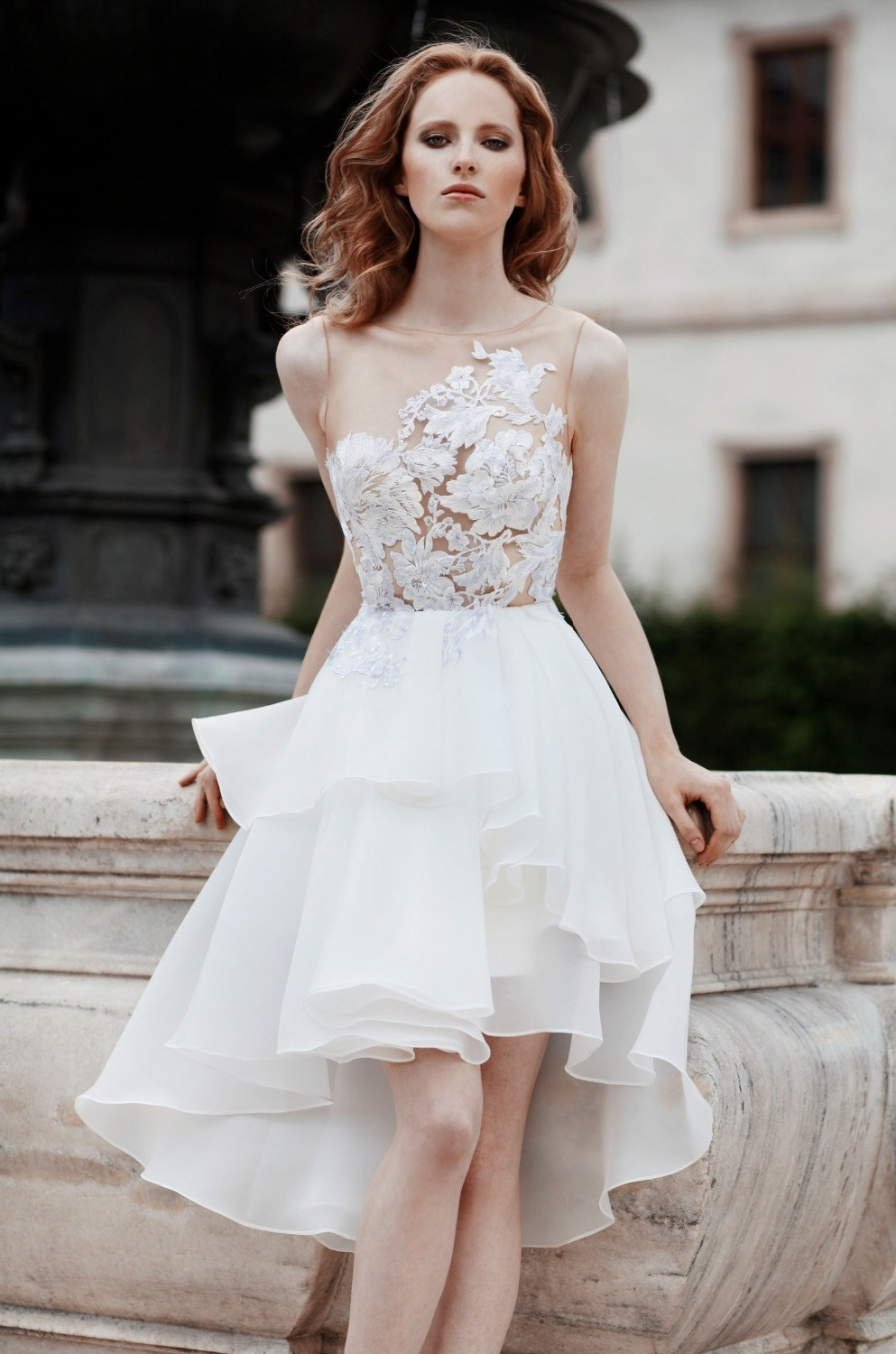 Abiti Da Sposa See Through Bodice With Lace Short Wedding Dress ...